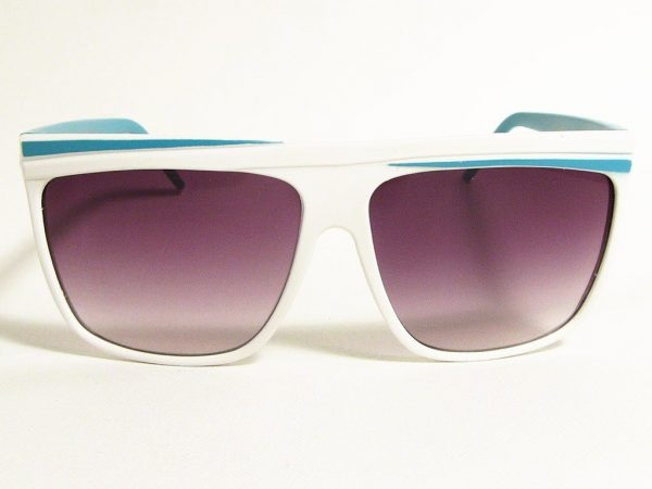 Retro Stripes (hvit/turkis) - Retro solbrille
