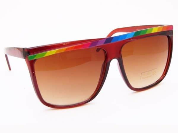 Rainbow Stripes (brun) - Retro solbrille