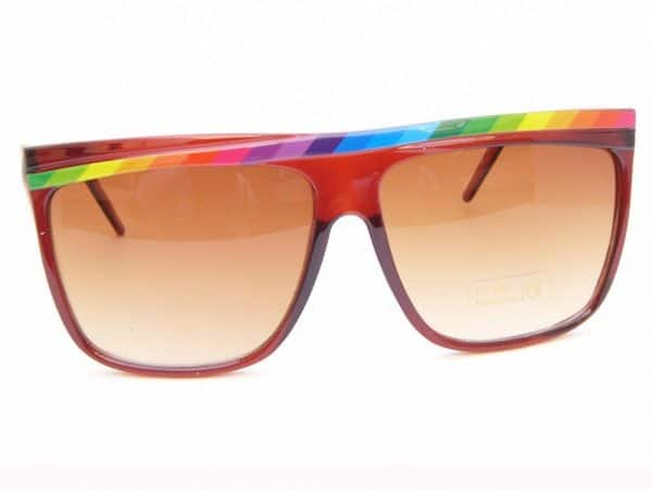 Rainbow Stripes (brun) - Retro solbrille
