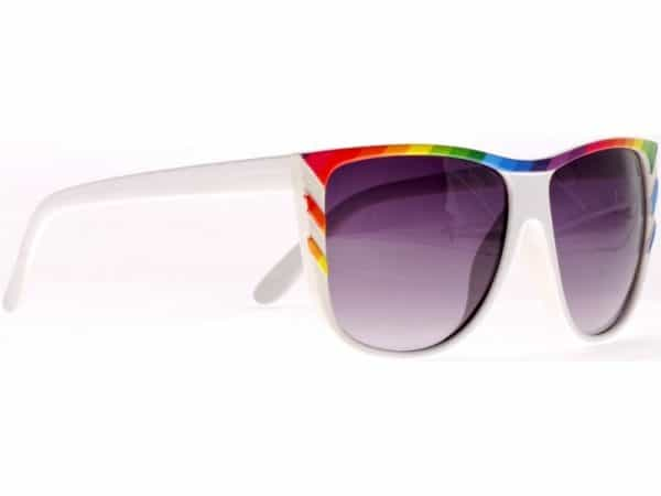 Rainbow Stripes (hvit) - Retro solbrille